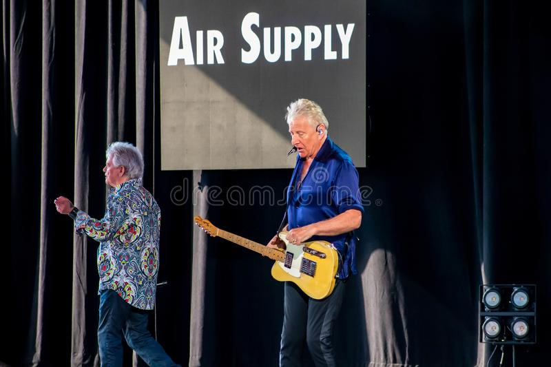 Graham Rusell and Russell Hitchcock  from air supply, singing beautiful melody at Epcot in Walt Disney World  3. Orlando, Florida. March 26, 2019. Graham Rusell stock image
