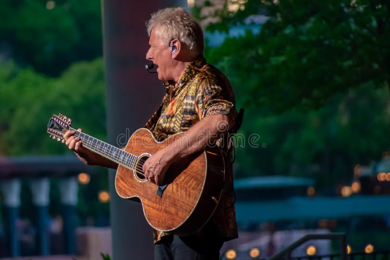 Graham Russell from air supply, singing beautiful melody at Epcot in Walt Disney World . Orlando, Florida. March 26, 2019. Graham Russell from air supply stock photo