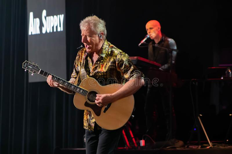 Graham Russell   from air supply, singing beautiful melody at Epcot in Walt Disney World 10. Orlando, Florida. March 26, 2019. Graham Russell   from air supply stock photo