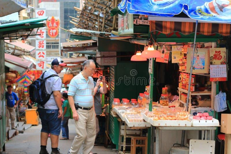 Graham Street i i stadens centrum Hong Kong royaltyfria foton