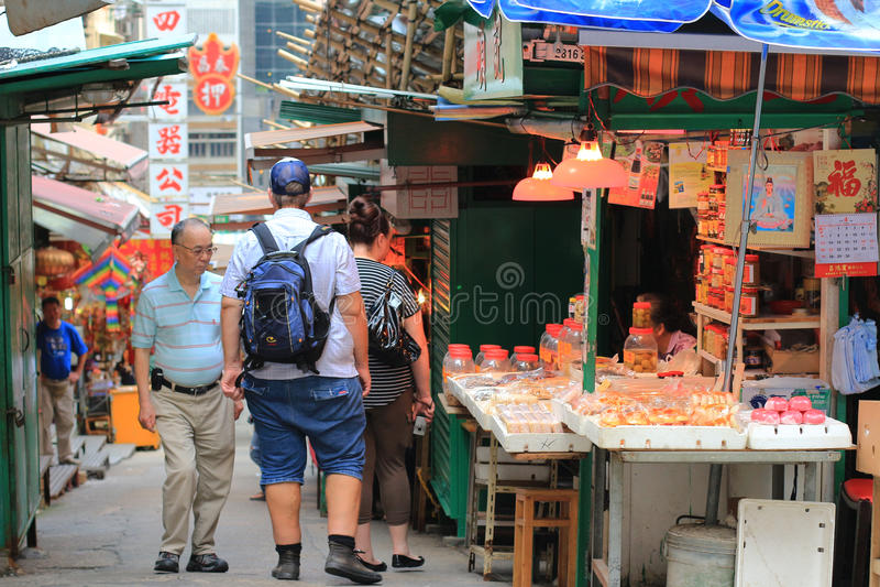 Graham Street i i stadens centrum Hong Kong royaltyfri foto