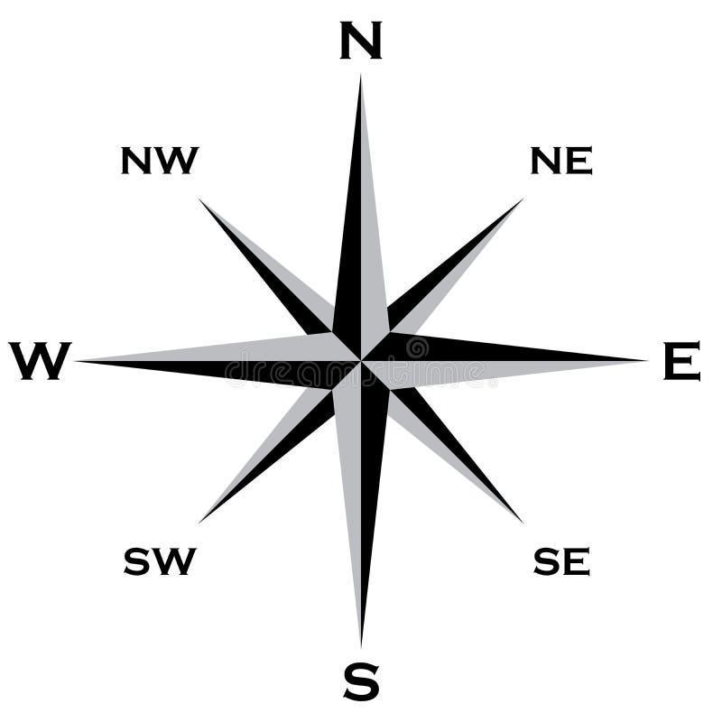 Grai van windrose cardinal points star en zwart Groot EPS Dossier royalty-vrije illustratie