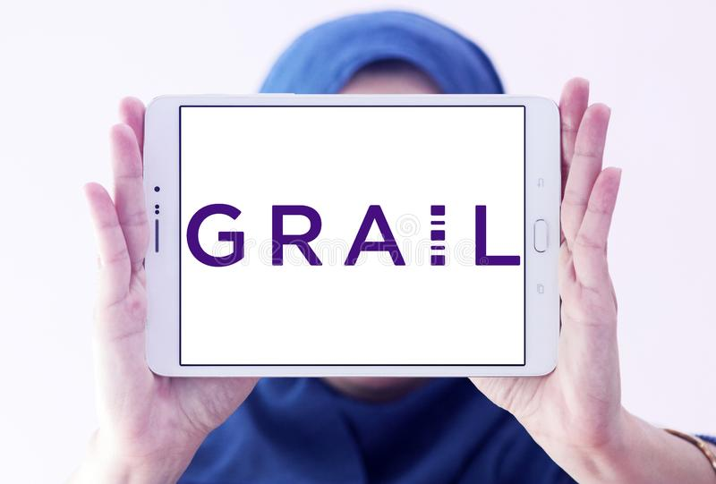 Grail life sciences company logo. Logo of grail life sciences company on samsung tablet holded by arab muslim woman. GRAIL is a life sciences company whose royalty free stock images