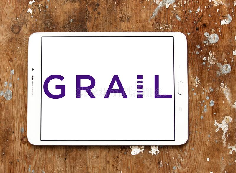 Grail life sciences company logo. Logo of grail life sciences company on samsung tablet. GRAIL is a life sciences company whose mission is to detect cancer early royalty free stock photo