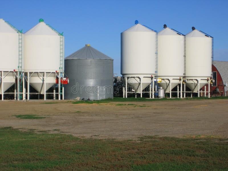Grain bins stock image