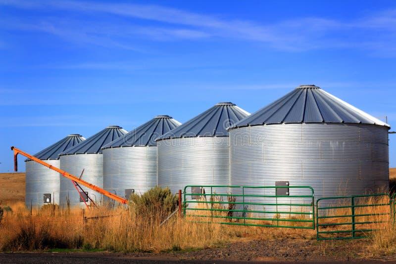 Grain Bins on the Prairie. 5 Metal grain storage bins sits on the edge of wheat fields on the high Prairie in eastern Oregon royalty free stock images