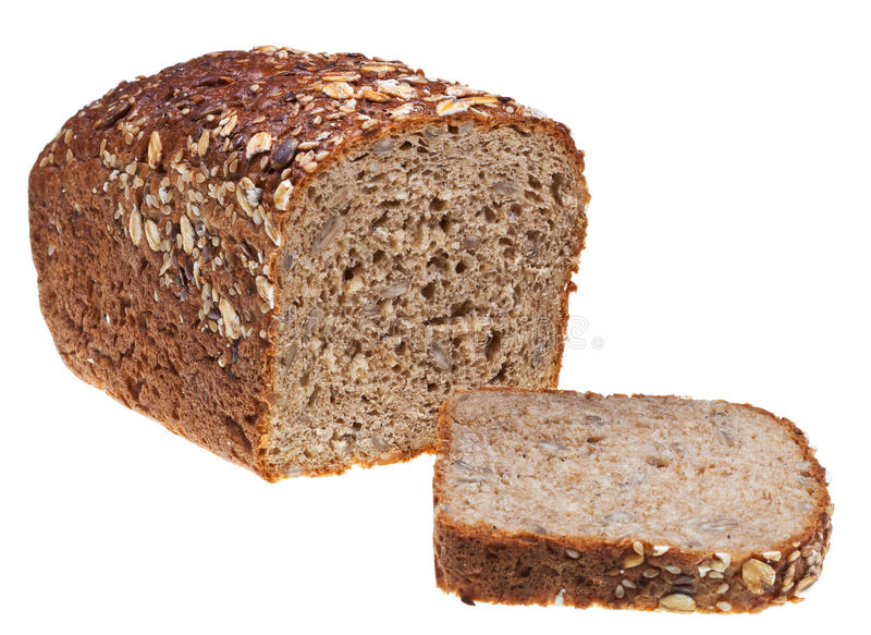 Grain Bread Loaf And Sliced Hunch Royalty Free Stock Image