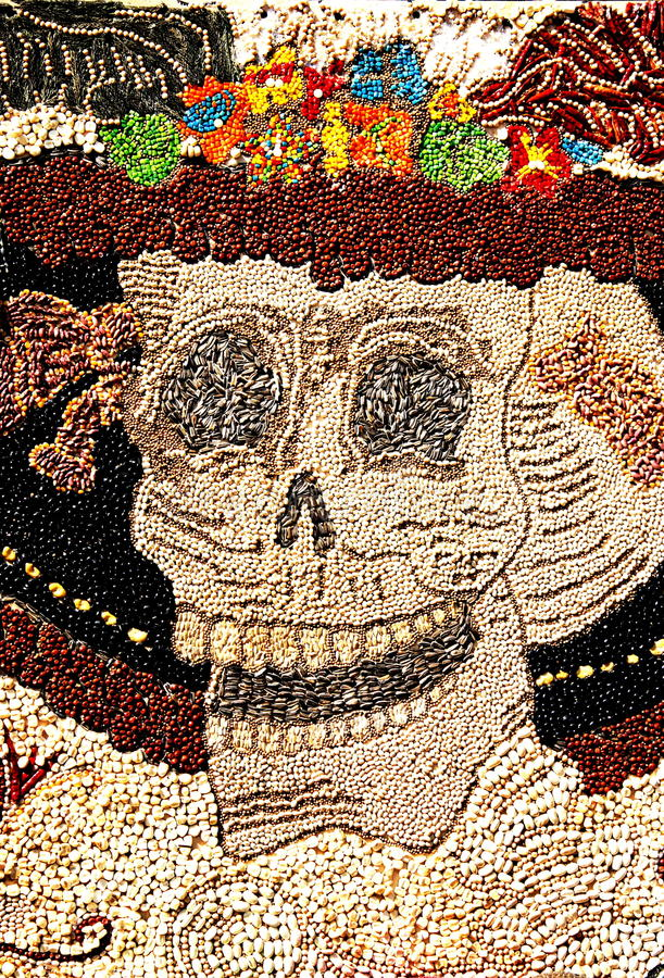 Grain catrina. Representation of the dead as the well known catrina, made of different kind of seeds, as part of the celebration of the day of the dead in mexico royalty free stock photos