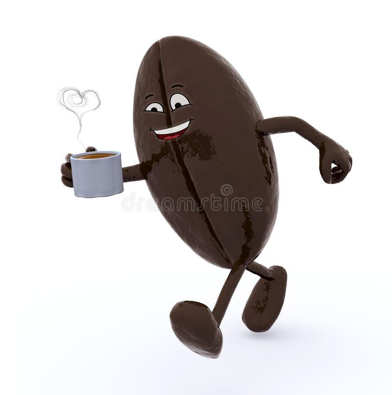 Grain de café avec des bras et des jambes qui marche illustration stock