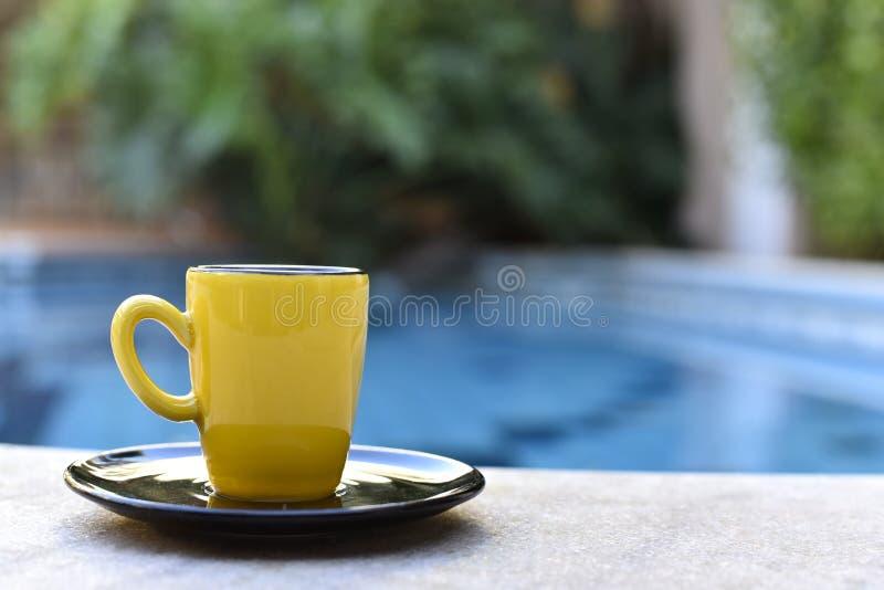 Grain de café jaune par la piscine image libre de droits