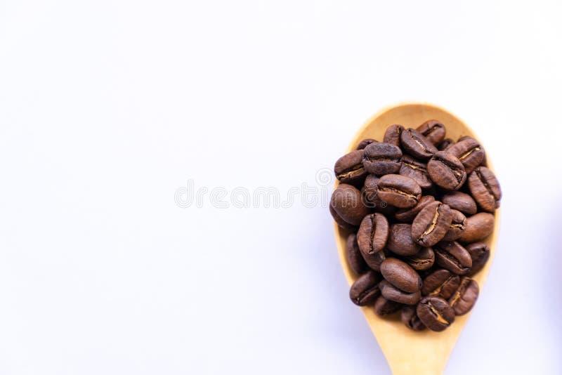 Grain de café de vue supérieure sur la cuillère en bois photos stock