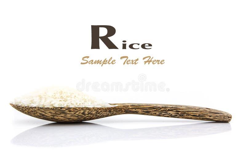 Grain de riz sur la cuillère en bois image stock