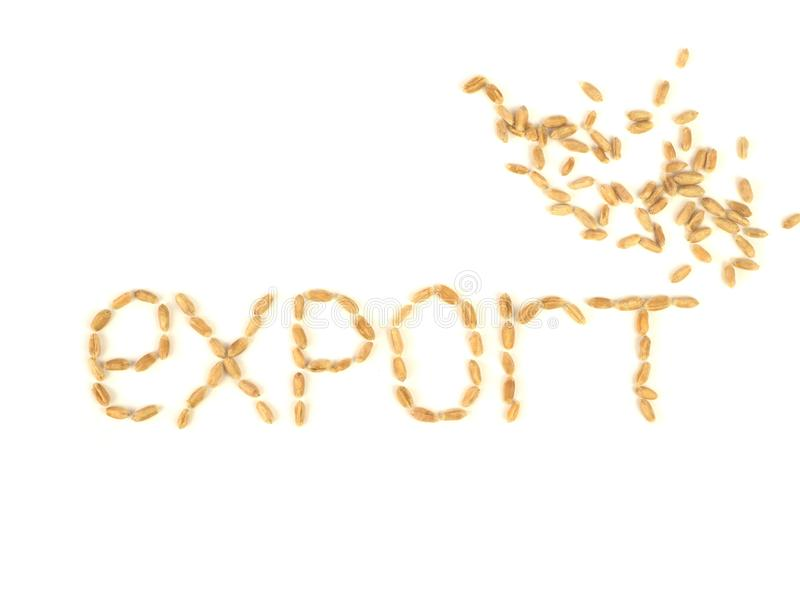 Grain export concept. External economic relations of the country. Allowing or banning the export of strategic food stock. Grain export. External economic royalty free stock image
