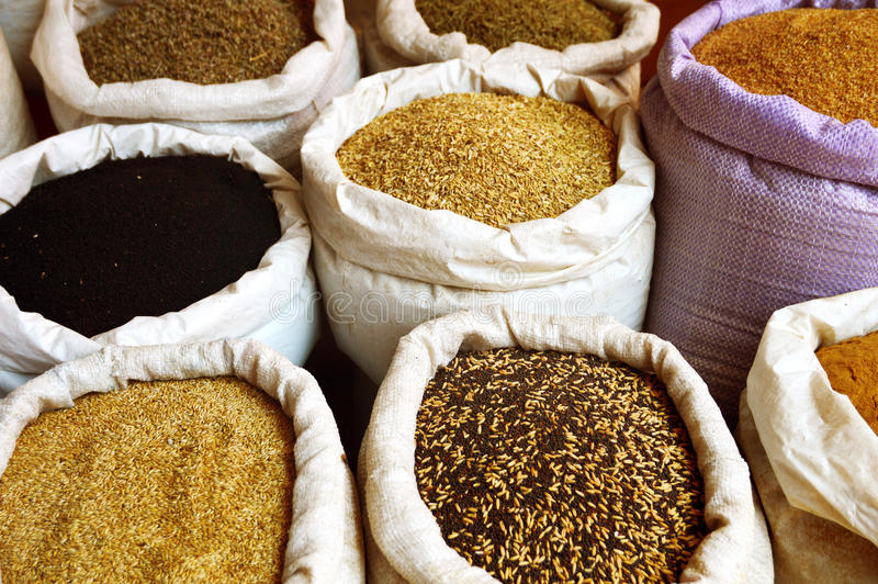 Grain food and spices in Arabic store royalty free stock images