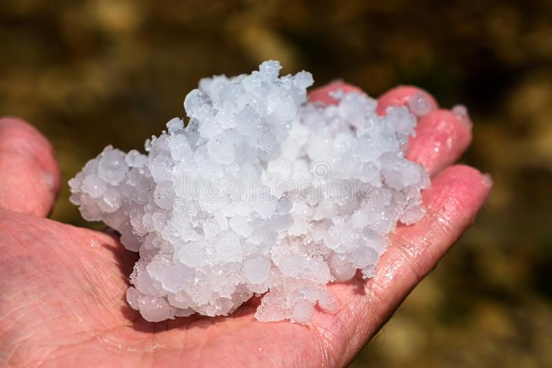 Grain ice hail on the palm. royalty free stock photography