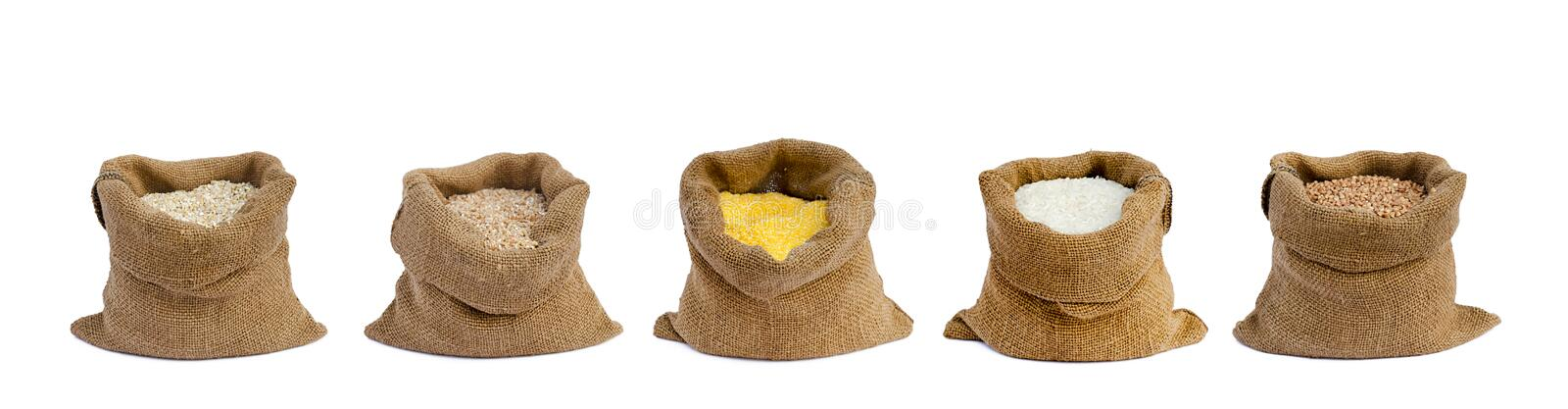 Grain in sacks stock image