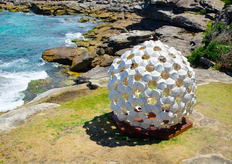 ` In the Grain of Sand ` is a sculptural artwork by Andrea Vinkovic at the Sculpture by the Sea annual events free to the public. SYDNEY, AUSTRALIA. – On royalty free stock photo