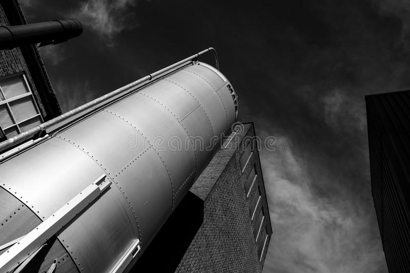 Grain silo in the country. In bw royalty free stock photography