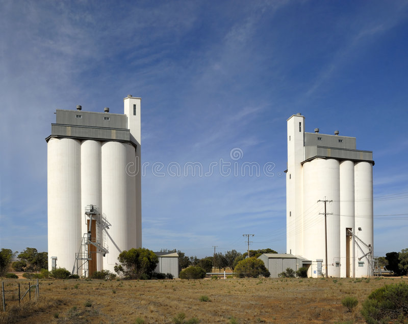 Grain silo facility stock images