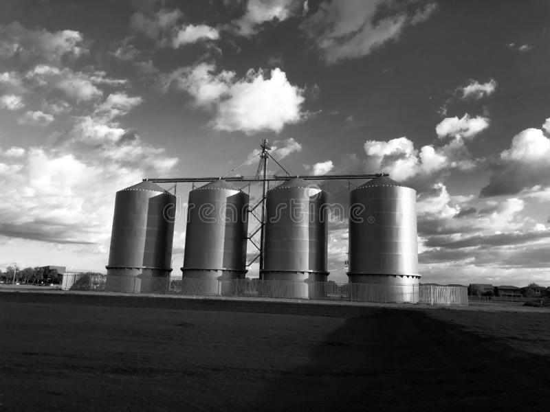Grain silo on farm in Gilbert Arizona. Which is located in the South part of the United States stock images