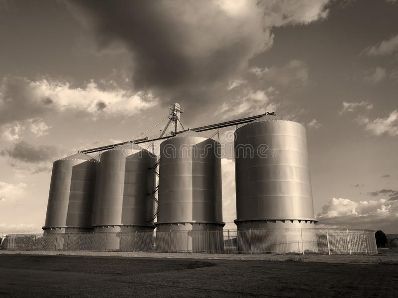 Grain silo on farm in Gilbert Arizona. Which is located in the South part of the United States royalty free stock image