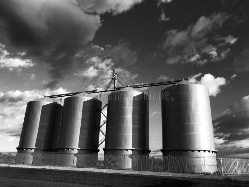 Grain silo on farm in Gilbert Arizona. Which is located in the South part of the United States royalty free stock photos