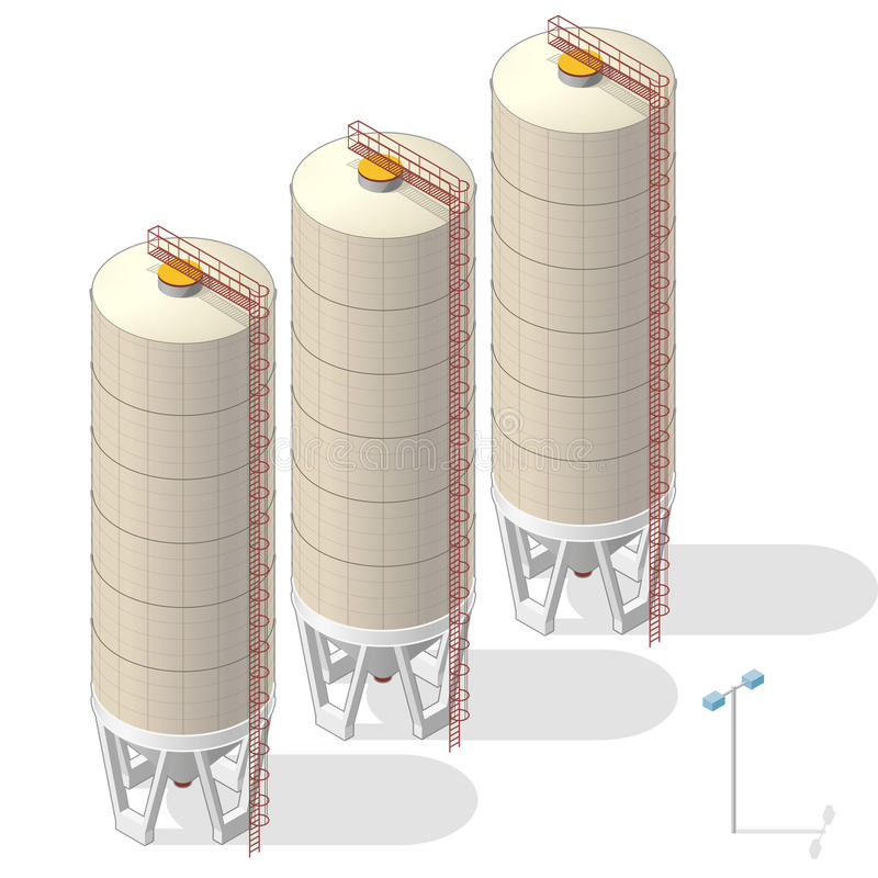 Grain silo, isometric ochre building info graphic on white background. stock illustration
