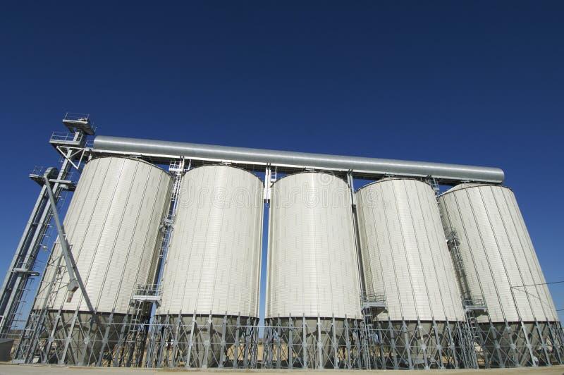 Grain silos. View of modern grain silos in Spain stock images