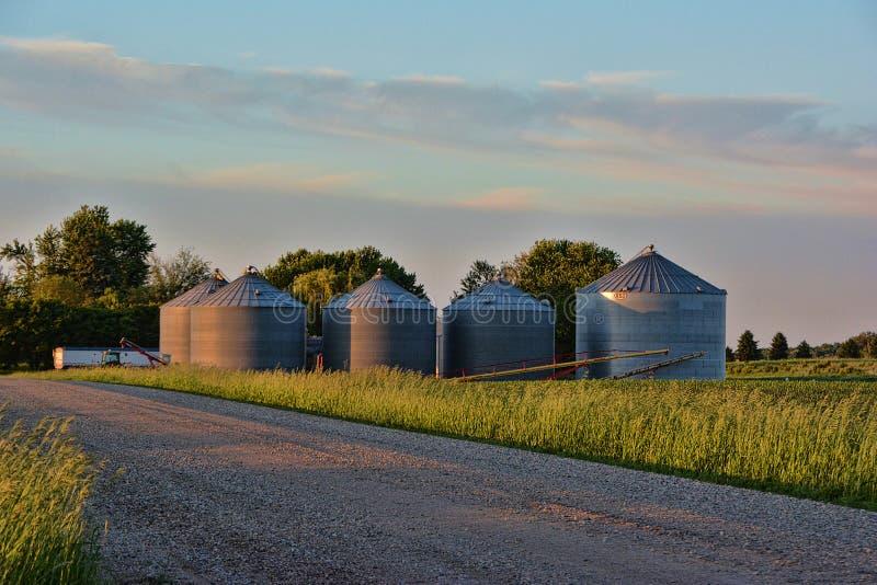 Grain Storage Bins royalty free stock photography