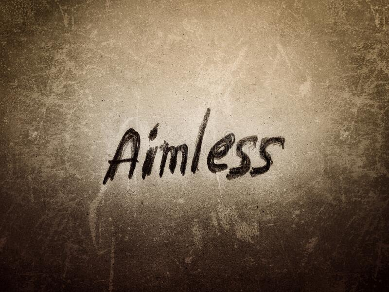 In the grain texture the word aimless written in rough design words art stock images