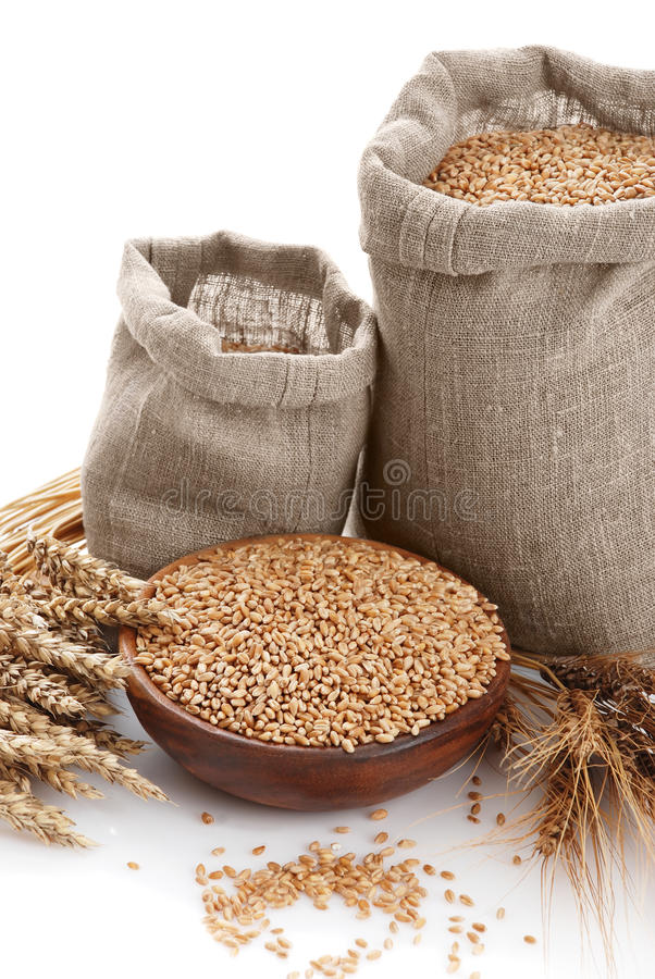 Grain of the wheat in bags and a bowl royalty free stock photo