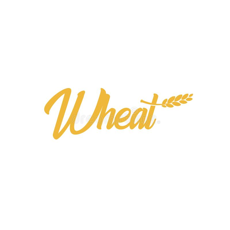 Grain wheat logotype, barley icon, oat logo, rice sign, cob emblem. Agriculture bright golden color harvest vector. Illustration. Flour and bread production stock illustration