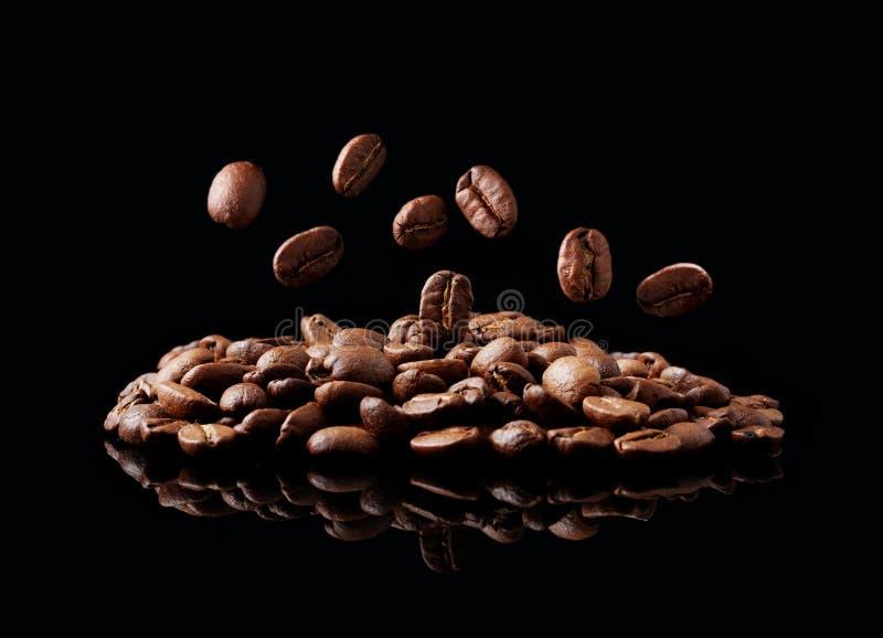 Graine de café en baisse photographie stock