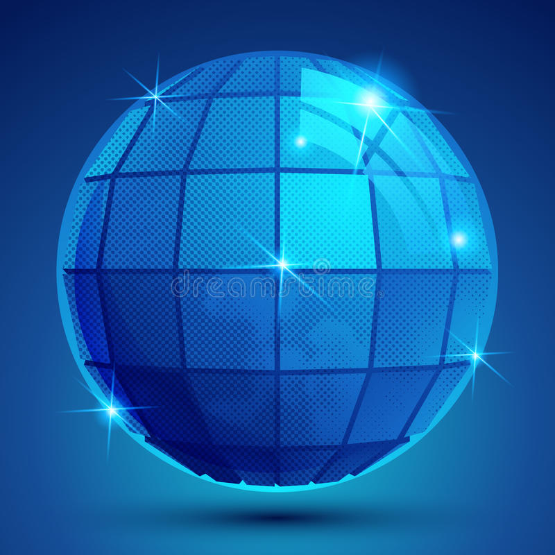 Grained plast-blått exponerar jordklotet som är geometriskt glittrar diagramet eps10 royaltyfri illustrationer