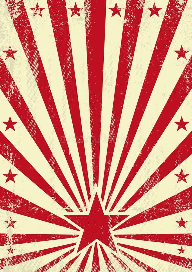 Grained röd stjärnabakgrund stock illustrationer