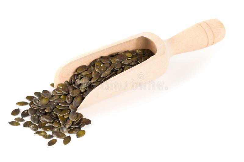 Graines de citrouille avec carapace dans le scoop en bois photos stock