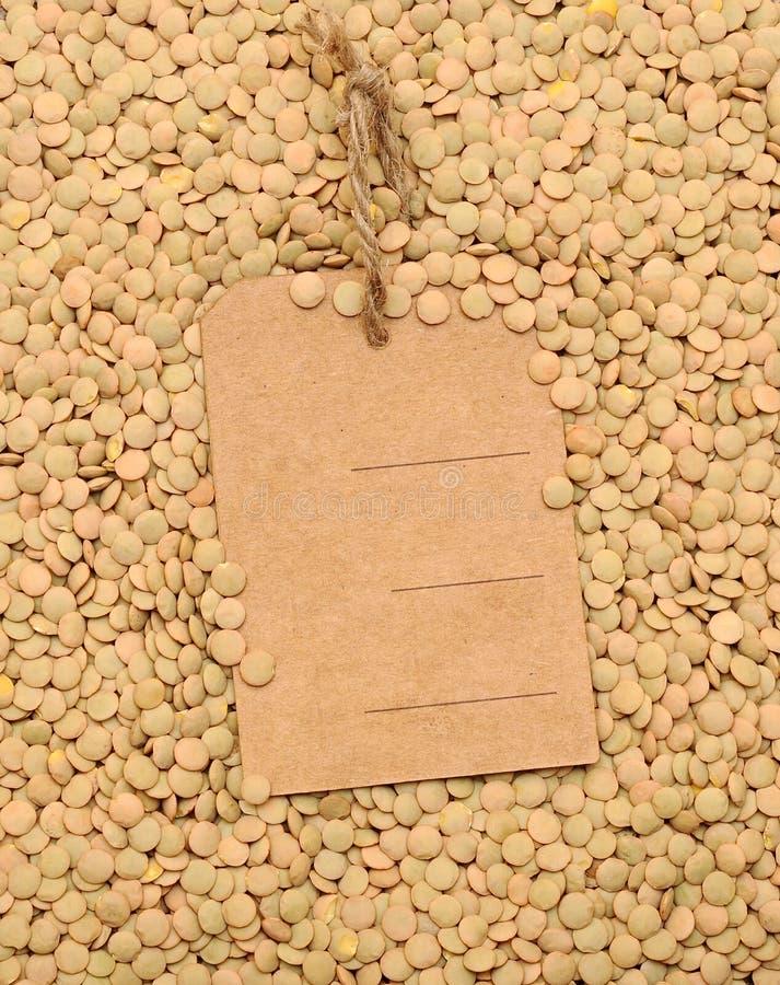 Graines de lentille avec le prix à payer blanc photo libre de droits