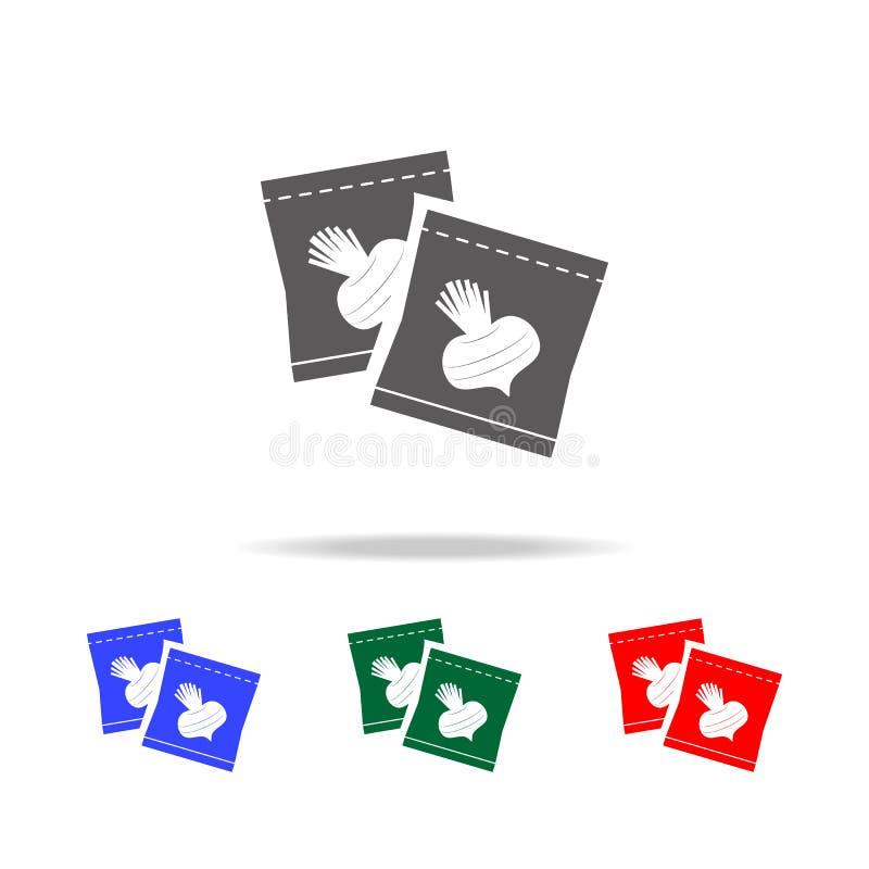 graines de radis dans l'icône d'emballage Éléments de jardin dans les icônes colorées multi Icône de la meilleure qualité de conc illustration stock