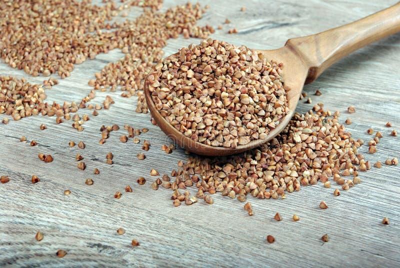 Graines de sarrasin sur la cuillère en bois image libre de droits