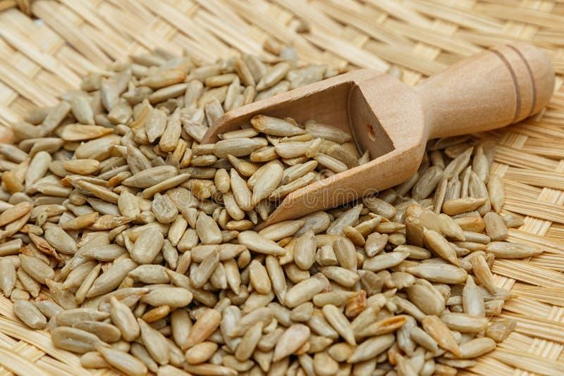 Graines de tournesol épluchées dans le scoop photographie stock libre de droits