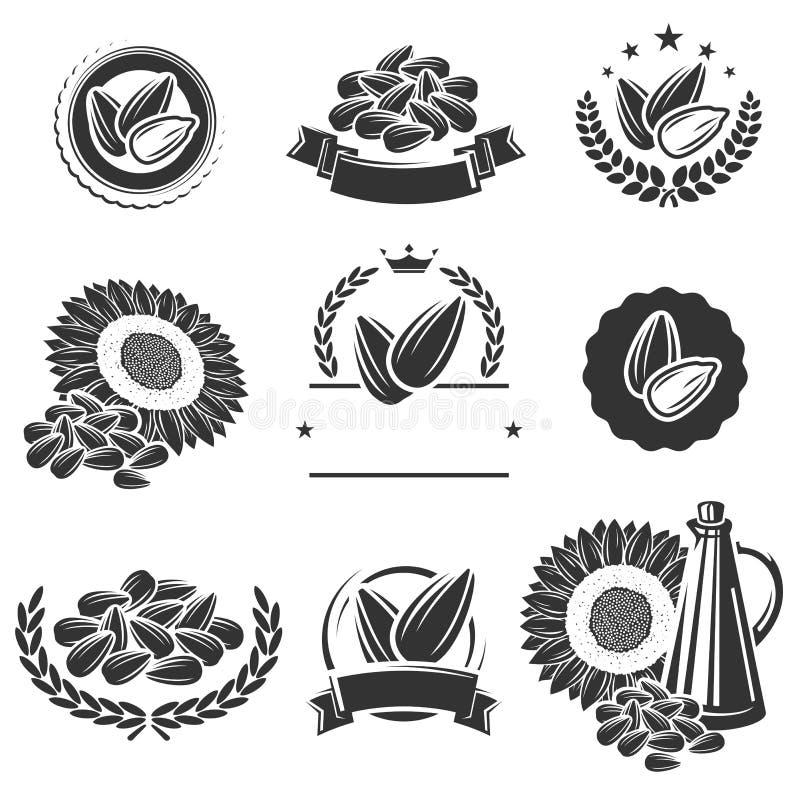 Graines de tournesol label et ensemble d'éléments Vecteur illustration de vecteur