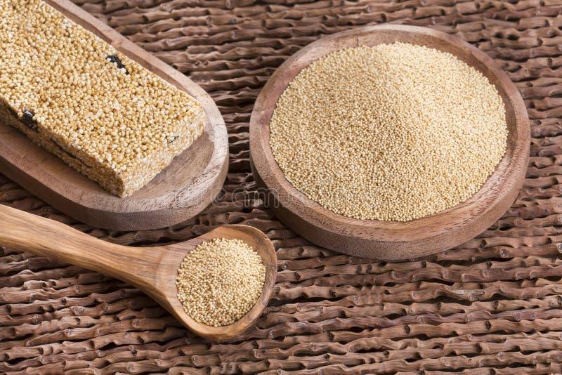 Grains and amaranth bar - Amaranthus. Amaranto: Amaranth Contains lots of protein, iron, calcium stock photo