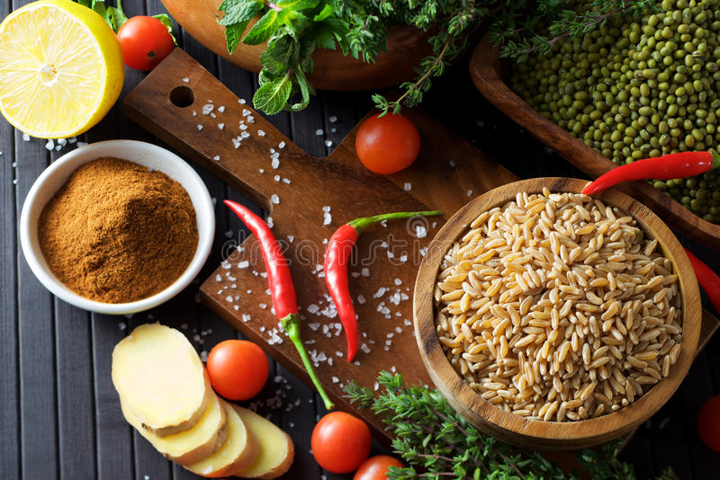 Grains and beans stock image