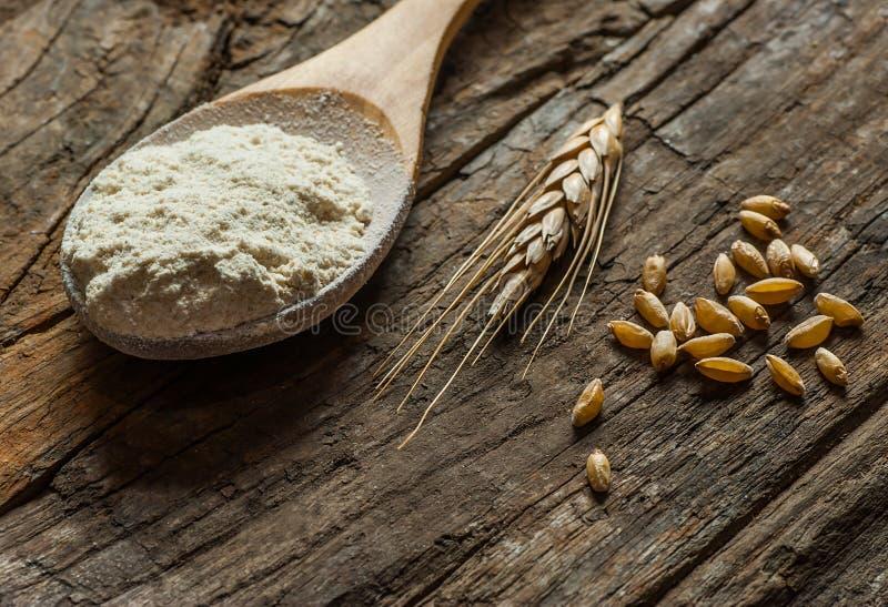 Grains de blé et farine de blé dans le scoop ou la pelle en bois avec des transitoires ou oreilles sur le fond en bois rustique photo stock