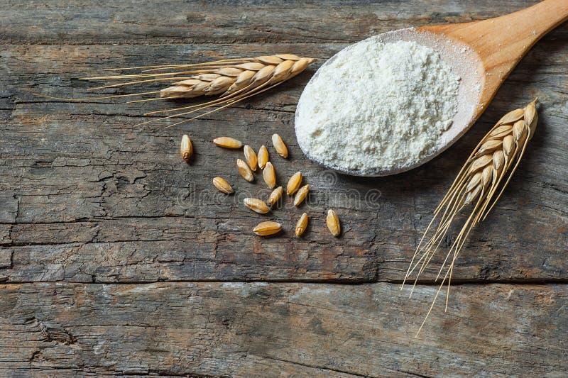 Grains de blé et farine de blé dans le scoop ou la pelle en bois avec des transitoires ou oreilles sur le fond en bois rustique image stock