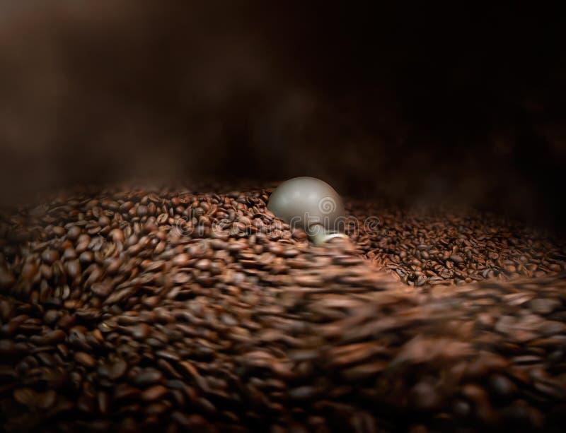 Grains de café étant traités dans la machine de torréfaction photos stock