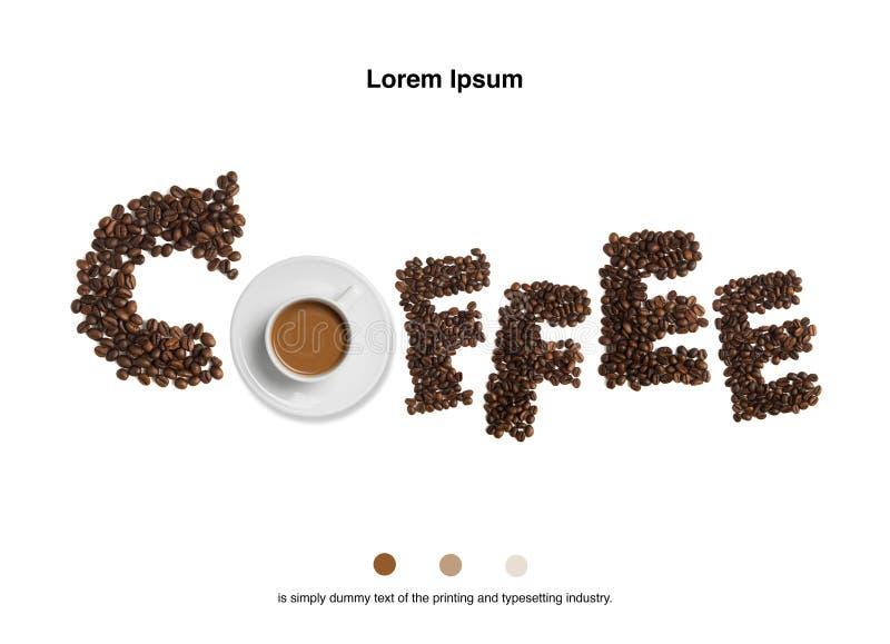 Grains de café avec la tasse de café sur le fond blanc photos libres de droits