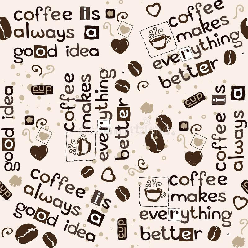 Grains de café, coeurs et inscription du modèle sans couture illustration stock