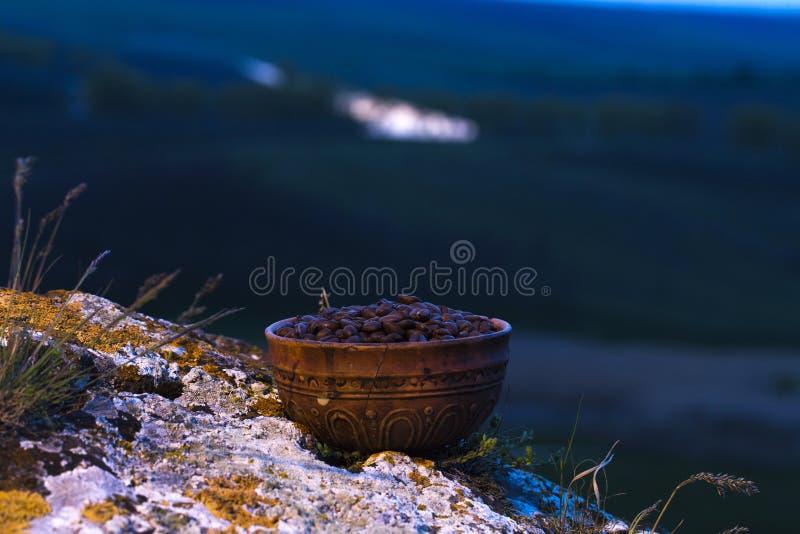 Grains de café dans la cuvette en céramique photos libres de droits