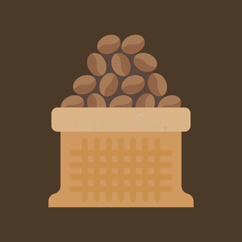 Grains de café dans le sac de sac illustration stock